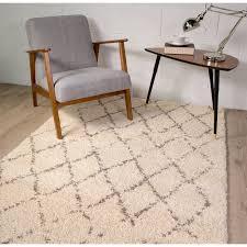 large trellis cream shaggy rug moroccan kukoon