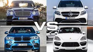 porsche cayenne turbo vs turbo s bentley bentayga vs mercedes amg gle63 vs bmw x6 m vs porshe