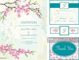 cherry blossom wedding invitations cherry blossom wedding invitation set vector getty images