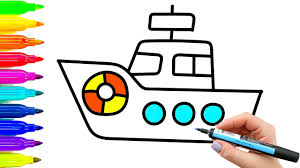 baby ship coloring pages and drawing videos for kids with