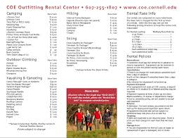 rental price outfitting cornell outdoor education