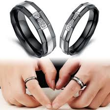 mens stainless steel wedding bands matching promise rings for men and women with stainless