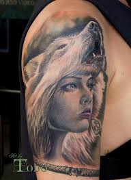grey ink wolf on half sleeve by todo