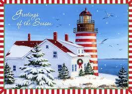 nautical christmas cards lighthouse with and white border box of 18 nautical christmas