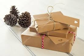 wrapped christmas boxes some paper parcels wrapped with tags christmas gift boxes