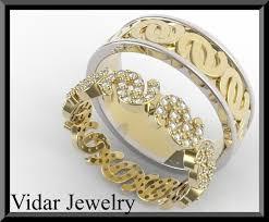 two tone wedding rings two tone diamond wedding ring set vidar jewelry unique custom