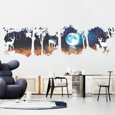 online get cheap forest wall sticker kids aliexpress com new arrival fawn forest pattern wall stickers dark forest and deer for tv background kids decorations