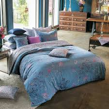 sateen vintage blue purple u0026 pink floral duvet cover set