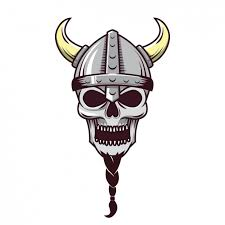 viking skull design vector free