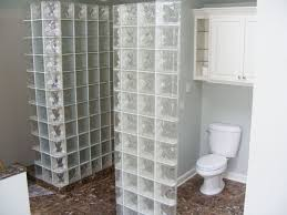 glass block bathroom designs decoration ideas looking brown marble polished tile flooring