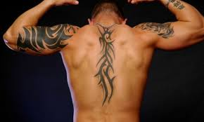 tribal quote back tattoos for guys design idea for and