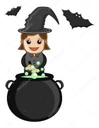 cute halloween witch cooking business cartoon characters u2014 stock