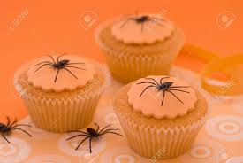 Images Halloween Cakes by Halloween Spider Cupcakes In Orange Setting Stock Photo Picture