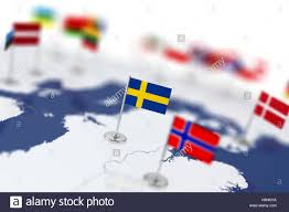 Europe Flag Map by Sweden Flag In The Focus Europe Map With Countries Flags Shallow