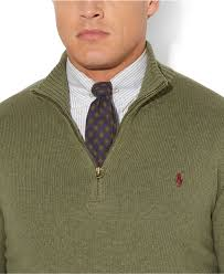 polo ralph lauren big and tall half zip mockneck sweater in green