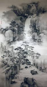 cuisine ang駘ique landscape with a waterfall by nakabayashi chikutô japanese 1776