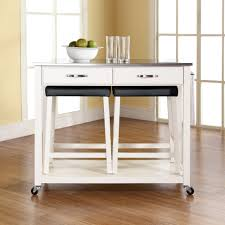 crosley furniture stainless steel top kitchen island in white