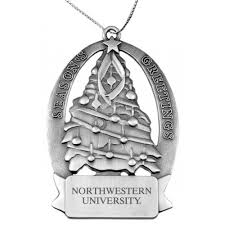 northwestern wildcats pewter christmas tree ornament with