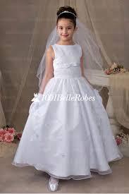 robe de fille pour mariage cérémonie fille pour mariage blanche en satin et tulle avec broderies
