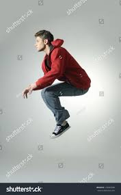Jumping Light Portrait Excited Young Man Jumping Air Stock Photo 118925938