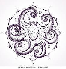 detailed hand drawn illustration octopus mandalalight stock vector