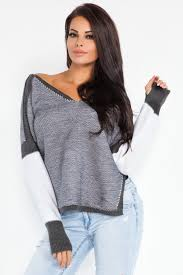 Sweater With Thumb Holes Fobya Women U0027s V Neck Jumper Pullover Sweater Long Sleeves Thumb