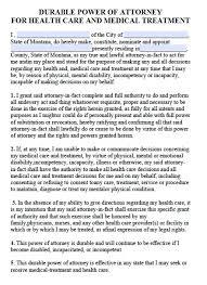 free montana medical power of attorney form u2013 pdf template