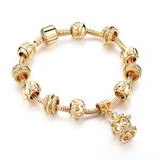 bangle style charm bracelet images Women gold bracelet simple style diy charm crown pendant bracelet jpg