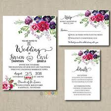 Engraved Wedding Invitations 100 Personalized Wedding Invitations Magenta Floral Suite With