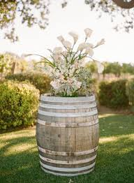 rustic country garden flowers on wine barrel deer pearl flowers