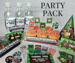 minecraft birthday supplies minecraft party supplies birthday party supplies print