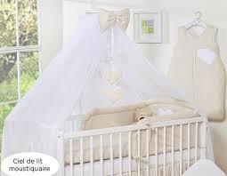 le pour chambre bébé ciel de lit bébé en moustiquaire grand format beige à pois à coeurs