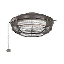 Fan Light Covers Ceiling Fan With Cage Light Rotating Dual Motor Caged Oil Rubbed