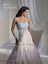 discount new sky blue and white wedding dresses strapless a line