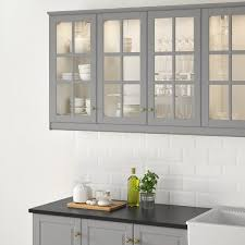 ikea kitchen cabinets glass bodbyn glass door gray 18x30