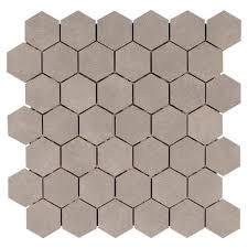 uptown gray hexagon porcelain mosaic 12in x 12in 100129576