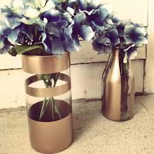 diy gold spray painted vases with fake flowers my design