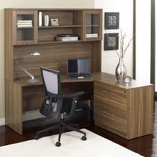 Wood Corner Desk With Hutch Bush Series C Corner Desk And Hutch With Lateral File Hayneedle