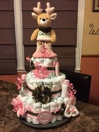 camo and pink diaper cake baby shower ideas pinterest pink