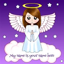 print your name on cute sweet angel greeting card