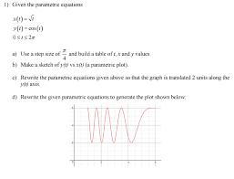 l given the parametric equations y t cos t a us chegg com