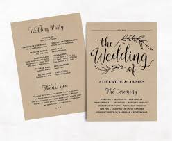 paper for wedding programs printable wedding program wedding program template kraft paper
