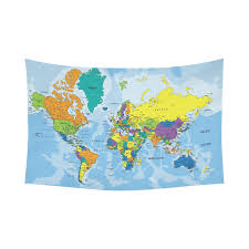 interestprint educational wall art home decor colorful world map