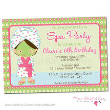 printable spa party invitation character of your choice