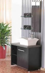 red brown real wood vanity with storage drawers mirror washbasin