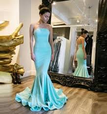 mermaid corset prom dresses strapless blue floor length evening