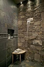 bathroom and i like the stone wall fabuloushomeblog