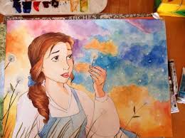 my friend just finished a watercolor painting of her favorite disney character belle