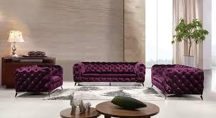 divani casa delilah modern purple fabric sofa set living room