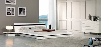 Bed With Attached Nightstands Contemporary White Platform Bed With Nightstands
